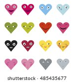 set of heart icons with... | Shutterstock .eps vector #485435677