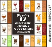 set of 12 hand drawn alcoholic... | Shutterstock .eps vector #485437267