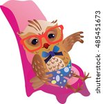 red glasses owl sitting on a... | Shutterstock . vector #485451673
