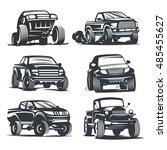 set off road suv car monochrome ... | Shutterstock . vector #485455627