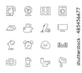 vector household icon set  thin ... | Shutterstock .eps vector #485456677