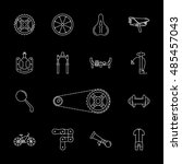 vector black bicycle icons set... | Shutterstock .eps vector #485457043