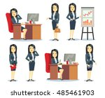 office businesswoman in various ... | Shutterstock .eps vector #485461903