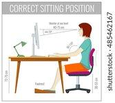 correct spine sitting posture... | Shutterstock .eps vector #485462167