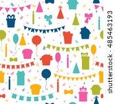 happy birthday seamless pattern ... | Shutterstock .eps vector #485463193