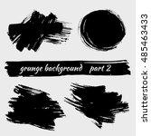 set of grunge black brushstroke ... | Shutterstock .eps vector #485463433