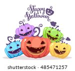 vector halloween illustration... | Shutterstock .eps vector #485471257