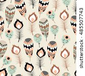seamless pattern with boho... | Shutterstock .eps vector #485507743
