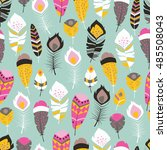 seamless pattern with boho... | Shutterstock .eps vector #485508043
