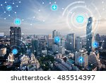 icons of wifi  internet ... | Shutterstock . vector #485514397