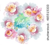 wildflower rose flower wreath... | Shutterstock . vector #485515333