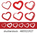 painted heart shapes. set of 6... | Shutterstock . vector #485521927