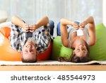 funny roommates upside down...   Shutterstock . vector #485544973