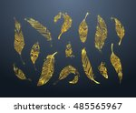 gold tribal feathers set ... | Shutterstock .eps vector #485565967