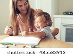 mother playing with her 1 4... | Shutterstock . vector #485583913