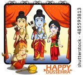 lord rama  laxmana  sita with... | Shutterstock .eps vector #485593813
