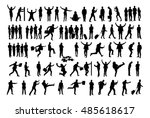 collage of silhouette business... | Shutterstock .eps vector #485618617