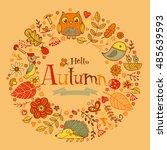 hello autumn banner in doodle...   Shutterstock .eps vector #485639593