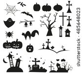 set of halloween silhouette | Shutterstock .eps vector #485648023
