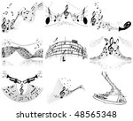 musical notes staff background... | Shutterstock . vector #48565348
