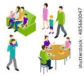 family isometric set with... | Shutterstock .eps vector #485660047