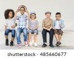 casual children cheerful cute... | Shutterstock . vector #485660677