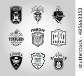 set of badges with cool weapons ... | Shutterstock .eps vector #485663353