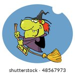 happy witch rides broom in night | Shutterstock .eps vector #48567973