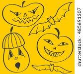 halloween design with pumpkin... | Shutterstock .eps vector #485691307