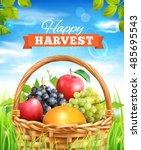 harvest time poster design.... | Shutterstock .eps vector #485695543