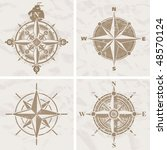 vintage compass roses | Shutterstock .eps vector #48570124