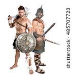 ancient warriors or gladiators... | Shutterstock . vector #485707723