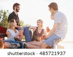 group of friends drinking and... | Shutterstock . vector #485721937