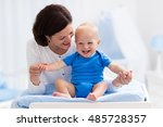 young mother taking care of... | Shutterstock . vector #485728357