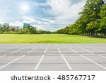 empty parking lot against green ... | Shutterstock . vector #485767717