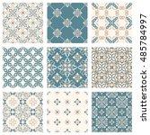 set of nine vector seamless... | Shutterstock .eps vector #485784997