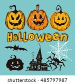 halloween hand drawn characters ...   Shutterstock .eps vector #485797987