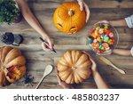 happy halloween  a mother ... | Shutterstock . vector #485803237