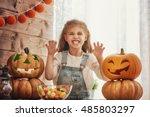happy halloween  cute little... | Shutterstock . vector #485803297