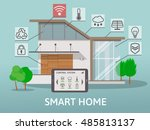 modern smart home. flat design... | Shutterstock .eps vector #485813137
