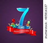 7 years anniversary celebration ... | Shutterstock .eps vector #485816137