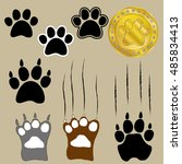 different style of bear paws... | Shutterstock .eps vector #485834413