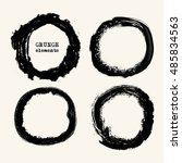 vector set of black brush... | Shutterstock .eps vector #485834563