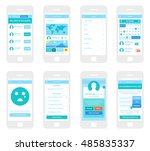 mobile app wireframe ui kit.... | Shutterstock .eps vector #485835337