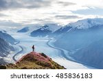 hiker standing against famous... | Shutterstock . vector #485836183