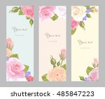 romantic set vintage vertical... | Shutterstock .eps vector #485847223