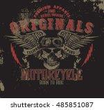 motorcycle vintage   road trip  ... | Shutterstock .eps vector #485851087