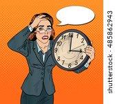 stressed pop art business woman ... | Shutterstock .eps vector #485862943