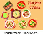 mexican cuisine spicy salad and ... | Shutterstock .eps vector #485866597