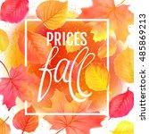 watercolor imitation autumn... | Shutterstock .eps vector #485869213